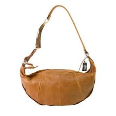 "Yves Saint Laurent YSL Tan Leather Large ""Mombasa"" Horn Hobo Shoulder Bag"