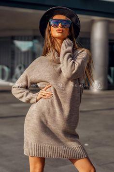 Kvalitné šaty pletené s rolákom vo veľkosti UNI vo farbe mokka Wool, Sweaters, Uni, Passion, Dresses, Life, Vestidos, Sweater, Dress