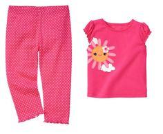 Gymboree Baby Girl Pink Polka Dot Legging Pants and Sunflower Tee 3-6 Months $28.95