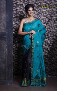 Assamese Mekhela Chador in Dark Turquoise and Black Mekhela Chador, Simple Sarees, Fabric Combinations, Banarasi Sarees, Saree Dress, Saree Collection, Cotton Saree, Indian Sarees, Traditional Dresses