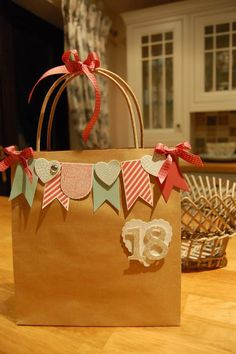 I love decorating gift bags that contain presents, it& amazing what you can do with a plain kraft bag. Paper Gift Bags, Paper Gifts, Paper Bag Gift Wrapping, Paper Toys, Creative Gift Wrapping, Creative Gifts, Pretty Packaging, Gift Packaging, Craft Gifts