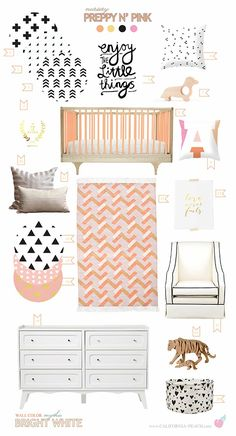 Black Gold Bedroom California Peach: Preppy N' Pink Nursery Room, Girl Nursery, Girls Bedroom, Nursery Decor, Peach Nursery, Nursery Ideas, Bedroom Decor, Big Girl Rooms, Baby Rooms