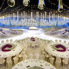 """LEBANESE WEDDINGS on Instagram: """"THREE WORDS: Timeless, elegant & sophisticated 💙 A night filled with hundreds of hanging crystal and fresh, fragrant flowers. Too pretty…"""" Wedding Captions, Wedding Table Setup, Lebanese Wedding, Elegant Sophisticated, Hanging Crystals, Wedding Planner, Table Decorations, Words, Instagram Posts"""