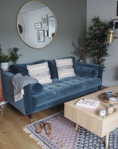 15 Beautiful Rooms: Mad About The House - Mad About The House - 15 Beautiful Rooms: Mad About The House – Mad About The House blue velvet sofa by Emma White of velvet sofa by Emma White of Apogee Interiors Blue Velvet Sofa Living Room, New Living Room, Living Room Sofa, Home And Living, Living Room Decor, Modern Living, Blue And White Living Room, White Rooms, Home Interior