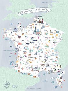 """""""Bonjour la France"""" - Carte de France illustrée - Charlotte Klein - L'Affiche Moderne"""