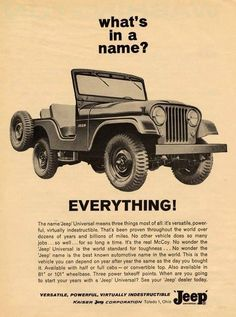 We have a full line of new and used Chrysler, Dodge, Jeep, Ram vehicles ready for you! Come to Uftring Chrysler Dodge Jeep Ram for a great experience from sales to service! Vintage Jeep, Vintage Trucks, Vintage Ads, Vintage Advertisements, Retro Ads, Jeep Cj, Jeep Willys, 4x4 Off Road, Pick Up