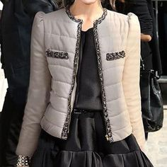 Round Collar Short Pocket Cotton Coat, #Wendybox