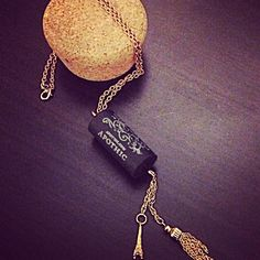 Recycled Wine cork necklace with tassel and Eiffel Tower charm