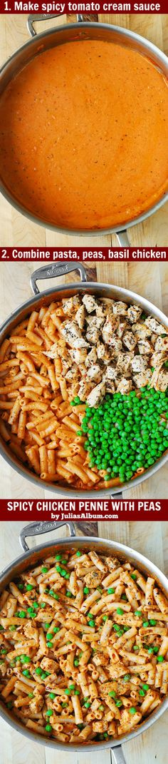 Spicy Chicken Penne with Peas - chicken breast cooked with basil and crushed red pepper in a spicy and creamy tomato Mozzarella cheese sauce.