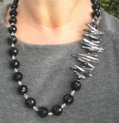 Necklace Biwa Pearls Black Peacock  FREE by GrievousAngelDesigns, $45.00