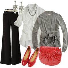 casual work outfit...i'd change the shoes and purse..