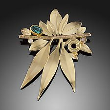 "Wind in the Leaves Brooch by Ben Dyer (Gold & Stone Brooch) (1.8"" x 1.4"")"