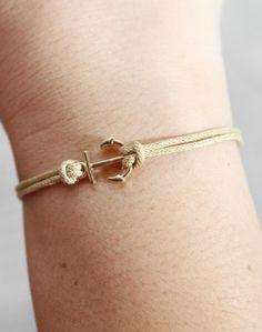 Anchor- antique golden mini anchor bracelet,wax cord bracelet