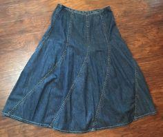 5f537f4029bee Liz Claiborne Lizwear Jeans Long Jean Skirt Modest Prairie Denim No Slit  Maxi 12
