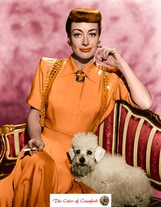 Joan Crawford, 1949, publicity still taken with her poodle, Cliquot.