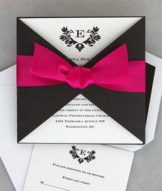 Invitación de Matrimonio Negra y Fucsia -- Fotografía: The American Wedding