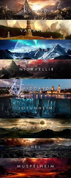 9 Worlds in Norse Mythology. I like how Muspelheim is at the bottom.