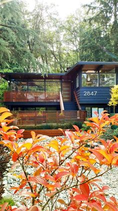 This couple made the outdoors the main focus in their 1958 John Burrows house, from the large, picture windows to the natural wood details. Black mid century modern house exterior in the woods. Café Exterior, Exterior Remodel, Exterior House Colors, Modern Exterior, Exterior Paint, Exterior Design, Exterior Home Renovations, Interior Design Minimalist, Modern House Design