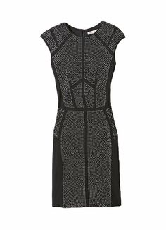 Nailhead Dress -A little tough, and a lot glam! This slim-lined knit shift is dotted with gleaming nailhead studs, perfectly placed along the front and back to form a striking geometric design. Cap sleeves & zip back. (lethimydung-fd1a1)