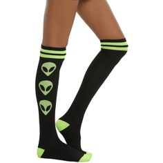 Hot Topic Loungefly Alien We Out Here Knee Socks ($6.80) ❤ liked on Polyvore featuring intimates, hosiery, socks, black, knee hi socks, knee socks and knee high socks