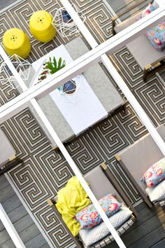 Wow! We love the lines and bursts of color on this beautifully decorated backyard deck. This deck makeover is quite impressive, especially when you see where it started. Such great outdoor decorating ideas from Sarah Dorsey of Sarah M. Dorsey Designs. See it all on The Home Depot Blog. || @smdorsey