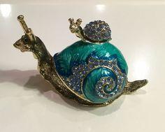 Blue Enamel Jeweled Trinket Box Snail W/ Baby Hinged