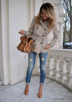 Cute Trench - with the jeans and pumps.  SOO cute.