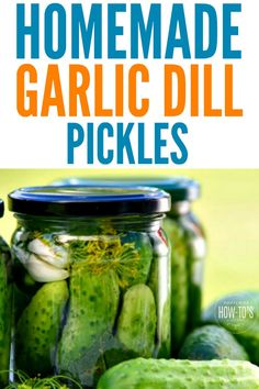 Garlic Dill Pickles - These are crunchy, salty and with just the right amount of garlic bite. The recipe includes instructions for canning them or making refrigerator pickles. #pickles #dillpickles #garlicpickles #cucumbers #refrigeratorpickles #canning via @housewifehowtos
