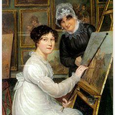 Rolinda Sharples 'Selfportrait with her mother Ellen' 1815 #british #femaleartist #artistfamily #19thcentury #america #portraitpainter #malstick #motherdaughter