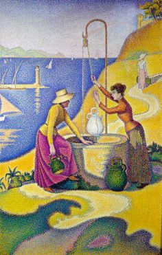 """Paul Signac (1863-1935) pointillist painting ~ """"Young Women of Provence at the Well"""", 1892"""