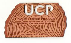 Super cool UCP engraved cut out wood business card. Wood Business Cards, Custom Business Cards, Custom Engraving, How To Memorize Things, Make It Yourself