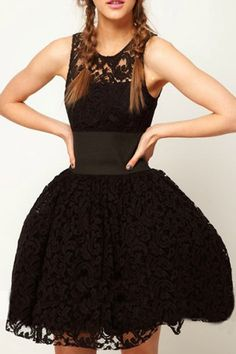 Lace Cut-out Belted Black Bubble Dress by: Romwe $25
