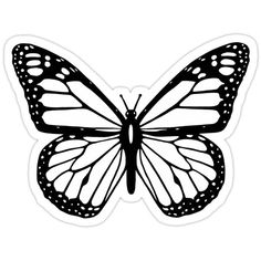 'Butterfly, Black and White Butterfly.' Sticker by TOM HILL – Designer - Spruch Butterfly Artwork, Butterfly Drawing, Monarch Butterfly, Butterfly Black And White, Black And White Drawing, Black And White Aesthetic, Black And White Design, Black And White Words, Black And White Prints