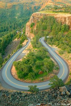 In The Columbia River Gorge of Oregon.  Ride this one many times each year!  Cool echoes with the pipes!