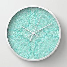 Aqua Wall Clock Mandala Mehndi modèle dentelle bleu sarcelle Design aigue-marine Turquoise Bleu vert minable Boho Chic Bohème dortoir pépinière HomeDecor