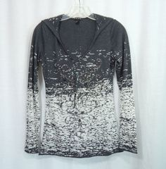 Juniors FANG Sheer Gray Black White Burnout Embellished Hooded Top, Size Medium #Fang #KnitTop #Casual