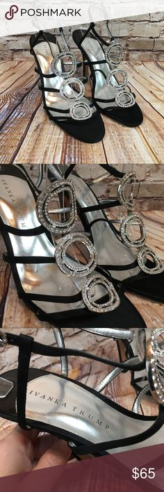 Ivanka Trump Black Satin & Rhinestone Heels Sz 10M Here is a gorgeous pair  of party shoes by Ivanka Trump. This is the Asteria style; they're  classically ...