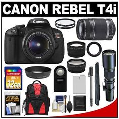 Canon EOS Rebel T4i Digital SLR Camera Body & EF-S 18-55mm IS II Lens with 55-250mm IS & 500mm Telephoto Lens + 32GB Card + Monopod + Battery + Backpack + Filters + Remote + Telephoto & Wide-Angle Lenses + Accessory Kit by Canon. $1069.95. Kit includes:♦ 1) Canon EOS Rebel T4i Digital SLR Camera & EF-S 18-55mm IS II Lens♦ 2) Canon EF-S 55-250mm f/4.0-5.6 IS II Zoom Lens♦ 3) Samyang 500mm f/8.0 Telephoto Lens (T Mount)♦ 4) Transcend 32GB SecureDigital Class 10...