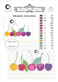 Grille gratuite de point de croix - Cerises colorées                                                                                                                                                                                 Plus