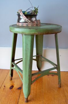 Vintage Industrial Metal Stool Green Small by SundriesandSalvage Industrial Stool, Industrial Metal, Vintage Industrial, Fixer Upper Decor, Vintage Stool, Metal Stool, Stools, Diy Furniture, Bathrooms