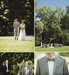 Shadow Lawn wedding. like the ceremony set up, groom's suit and the bow ties. like the colors, too.