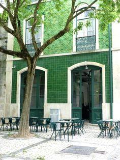 Tiled facades create an impact - gorgeous emerald green [Tile facade. Lisbon, Portugal.]