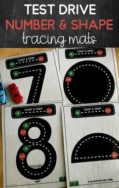 A great hands on learning activity for young kids! Number and shape tracing mats for preschool and kindergarten! Teaches the correct letter formation with a fun test drive theme! Numbers Kindergarten, Kindergarten Activities, Teaching Math, Learning Activities, Preschool Activities, Primary Teaching, Elementary Teaching, Teaching Resources, Stages Of Writing
