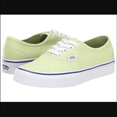 New in box Vans Authentic in Shadow Lime New in box Vans Authentic in Shadow Lime. Pastel green yellow color with blue stripe around the sole. Size women's 9.5. Vans Shoes Sneakers