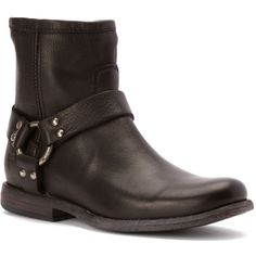 Frye Women's Phillip Harness Boots ($229) ❤ liked on Polyvore featuring shoes, boots, ankle booties, black soft vintage leather, short boots, black leather booties, black leather bootie, leather ankle boots and black ankle booties
