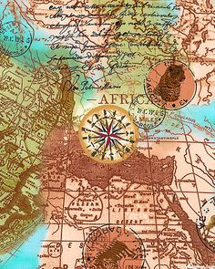 Out Of Africa - Stamp, Star, & Map Collage - Almond