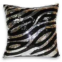@Overstock - This dazzling decorative throw pillow showcases an allover sequined design and faux silk backing. This pillow showcases a zebra pattern. http://www.overstock.com/Home-Garden/Sequin-Zebra-Decorative-Pillow/6206352/product.html?CID=214117 $33.69