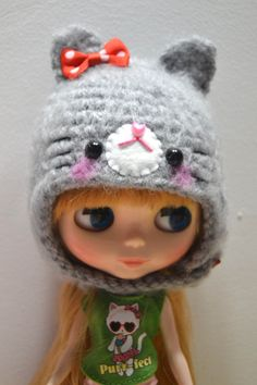 Crochet blythe helmet grey kitty by Kawaiicloudshop on Etsy