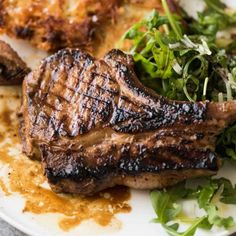 Overhead photo of Grilled chops on a plate with potato rosti and salad, made using amade using a great Pork Chop Marinade Pork Rib Recipes, Grilling Recipes, Grilling Ideas, Pork Marinade Recipes, Meat Recipes, Grill Meals, Recipies, Bbq Pork Ribs, Pulled Pork