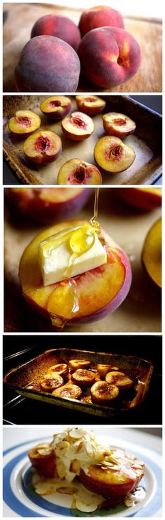 Honey Roast Peaches by thelondoner: A glorious combination of fresh peaches, buttery honey sauce topped with cool marscapone cream and toasted almonds. #Peaches #Almonds #Honey #Mascarpone